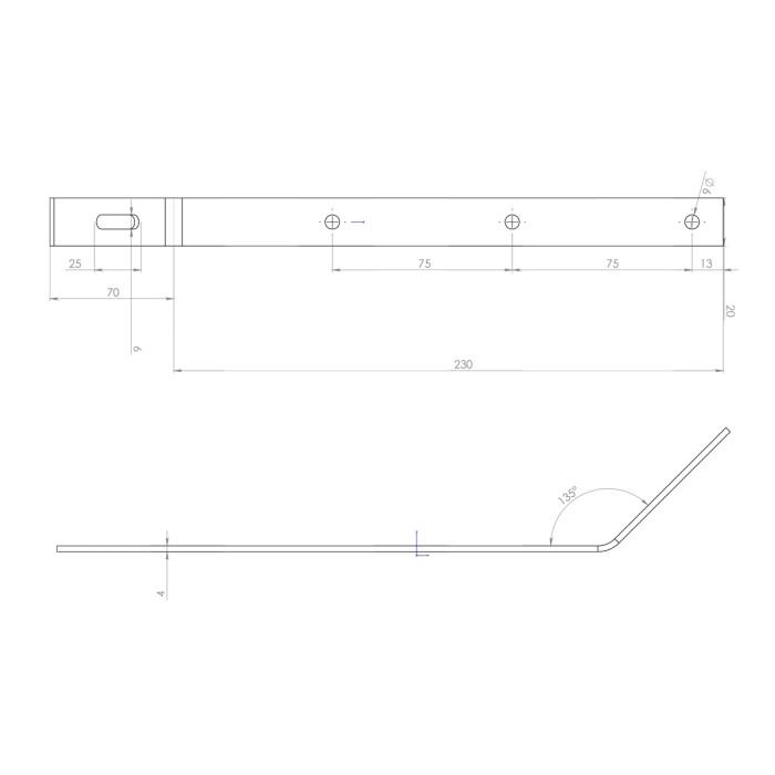Подовжувач металевий 4 мм, оц. 135°